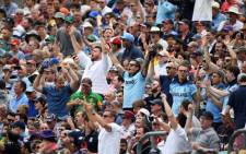 England fans react to a catch by Ben Stokes during a Cricket World Cup match between England and the Proteas at the Oval on 30 May 2019. Picture: @cricketworldcup/Twitter.