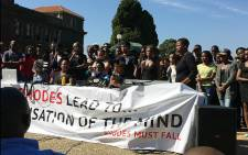 UCT students gather at the Jameson Hall staircase to discuss their next move in the Rhodes Must Fall Movement. Picture: Masa Kekana/EWN