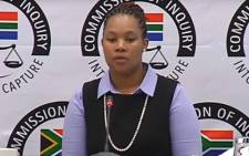 A video screengrab of former chief director of communications at National Treasury Phumza Macanda appearing at the state capture commission on 26 November 2018.