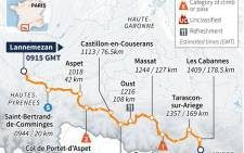 TDF 2015 route map of stage 12.
