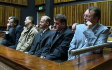 The six men accused of Betty Ketani's murder. Three have since become state witnesses. Picture: Christa van der Walt/EWN.