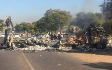 A truck was torched during protest in Atteridgeville during protests. Picture: Clement Manyathela/EWN.