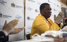 Gauteng acting MEC for Social Development Panyaza Lesufi on 15 April 2020 received over 10,000 food parcels and other supplies from social partners to help those in need during the lockdown. The supplies will be stored at the central warehouse and Johannesburg Food Bank. Picture: Sethembiso Zulu/EWN
