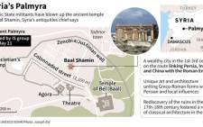 Map of Syria's ancient city of Palmyra, locating the ancient temple of Baal Shamin, which was blown up by Islamic State militants on Sunday.