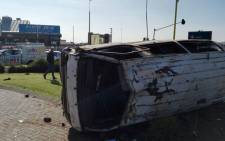 Eighteen people have been injured after the taxi they were travelling in rolled several times in Roodepoort, west of Johannesburg. Picture: @Netcare911_sa.
