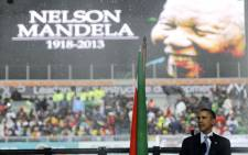 US President Barack Obama speaks at former President Nelson Mandela's memorial service at the FNB Stadium in Johannesburg. Picture: Herman Verwey/Mandela Pool