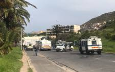 Police nyalas are driving into the Hangberg community in Hout Bay as protesters continue to throw rocks and stones at authorities. Picture: Shamiela Fisher/EWN
