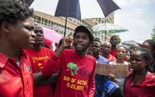 Members of the Economic Freedom Fighters Student Command staged a protest outside the Department of Higher Education in Pretoria. Picture: EWN