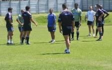 Wester Province coach Allister Coetzee (middle) has a team talk during a training session.