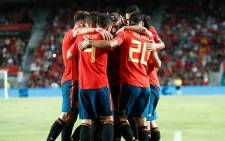 Spain players celebrate a goal against Croatia during their UEFA Nations League match on 11 September 2018. Picture: @SeFutbol/Facebook.com