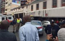 Meter taxi drivers blocked roads in the Johannesburg CBD during a demonstration against the Gauteng transport MEC Ismail Vadi. Picture: Emily Corke/EWN.