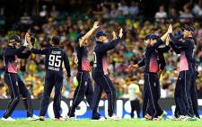 England players celebrate beating New Zealand by four runs in their third one-day international. Picture: @englandcricket/Twitter.