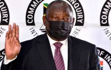 President Cyril Ramaphosa is sworn-in at the state capture inquiry on 11 August 2021. Picture: GCIS