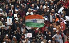Protesters gather at the Jama Masjid mosque at a demonstration against India's new citizenship law in New Delhi on 20 December 2019. Picture: AFP