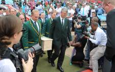 Joost van Der Westhuizen's coffin being brought in by Francois Pienaar and other former Springbok teammates at Loftus Versveld in Pretoria. Picture: Christa Eybers/EWN.