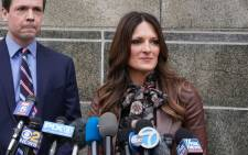Harvey Weinstein's lawyer Donna Rotunno (R) speaks to the media outside Manhattan Criminal Court following a bail hearing on 6 December 2019 in New York. Picture: AFP