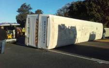 The overturned bus on the R100 near Kraaifontein, Cape Town on 12 April 2018. Picture: City of Cape Town