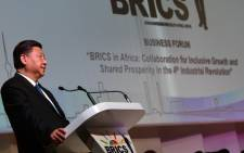 Chinese President Xi Jinping addressing the presidential session of the BRICS Business Forum in Sandton, Johannesburg. Picture: @SAgovnews/Twitter