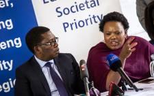 Gauteng MEC's Panyaza Lesufi and Sizakele Nkosi-Malobane address the media at Unity High School. Picture: Kayleen Morgan/EWN