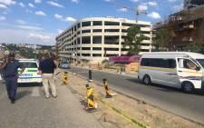 Police on scene following taxi violence outside Fourways Mall. Picture: Masa Kekana/EWN.