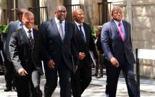 Finance Minister Nhlanhla Nene flanked by SARS Commissioner Tom Moyane, Deputy Minister of Finance Mncebisi Jonas, and DG Lungile Fuzile after his first Budget Speech in Cape Town on 25 February 2015. Picture: GCIS.