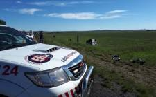 ER24 paramedics at the scene of an accident that claimed that lives of two women near the Kroonvaal Plaza. Picture: ER24.