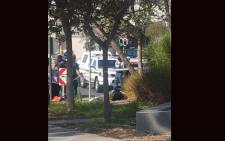 The scene outside Standard Bank in Rosebank, Johannesburg, where a man has been shot dead in an alleged robbery. Picture: Supplied.