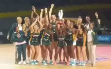 The Proteas netball side celebrates their Africa Netball Cup title win after defeating Zambia 72-53 victory at the Bellville Velodrome in Cape Town on 22 October 2019. Picture: Ayanda Felem/EWN