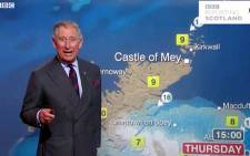 Prince Charles presents the weather report on BBC. Picture: AFP
