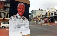 Posters of former president Nelson Mandela across the Cape Town CBD. Picture: Graeme Raubenheimer/EWN.