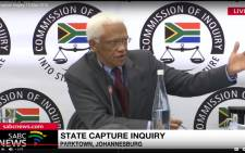 A screengrab of Transnet's governance executive manager Peter Volmink testifying at the state capture inquiry on 10 May 2019.
