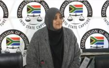 Travel Excellence agent Halima Allana appearing at the state capture inquiry on 18 May 2021. Picture: SABC/YouTube screengrab.