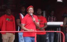 EFF leader Julius Malema addressing the crowd outside state capture inquiry venue. Picture: Abigail Javier/EWN