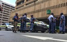 Police are maintaining a heavy presence outside Luthuli House after earlier scuffles between ANC and BLF members on 5 February 2018. Picture: Ihsaan Haffejee/EWN
