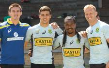 Impi Visser (left) will make his Blitzboks debut at the Dubai tournament next week. Picture: Twitter/@Blitzboks