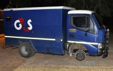 An armoured cash delivery vehicle is seen after an attempt was made to hijack and rob it near Nanaga, Kinkelbos in Eastern Cape. Picture: SAPS.