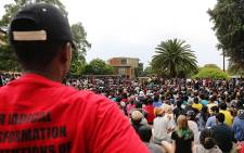 A Wits University student looks on as the Student Representative Council addresses the crowd on the varsity's education campus on 21 October 2015. Picture: Reinart Toerien/EWN.