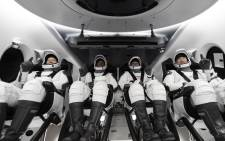 Astronauts Michael Hopkins, Victor Glover, Shannon Walker and Soichi Noguchi on their way to the ISS. Picture: @SpaceX/Twitter