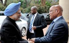 President Jacob Zuma welcomes Indian Prime Minister Manmohan Singh at the India Brazil South Africa (IBSA) summit in Pretoria, Tuesday, 18 October 2011. Picture: GCIS.