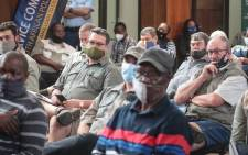 Police Minister Bheki Cele (not pictured) held a rural safety imbizo in the Bethlehem community hall on 12 November 2020 to discuss the issue of farm attacks in the area. Picture: Abigail Javier/EWN