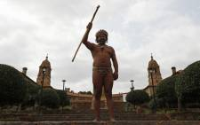 King Khoisan South Africa at the Union Buildings in Pretoria, on 22 September 2020. Picture: AFP.