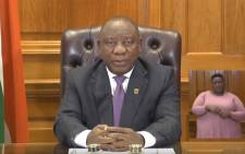 FILE: President Cyril Ramaphosa addressing the nation.