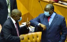 President Cyril Ramaphosa and Finance Minister Tito Mboweni in Parliament for the Budget speech on 24 February 2021. Picture: GCIS.