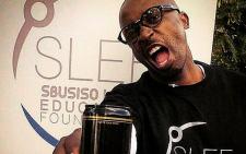 DJ Sbu promoting his energy drink at his Sbusiso Leope Education Foundation, Spirit of Humanity campaign. Picture: DJSbu Instagram.
