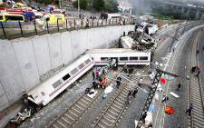 Site of a train accident near the city of Santiago de Compostela in Spain where between 55 and 60 people died when a train derailed. Picture: AFP