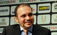 Fifa vice-president Prince Ali Bin al-Hussein speaking during the Soccerex Global Convention 2014 in Manchester, in northwest England. Fifa vice-president Prince Ali bin Al Hussein of Jordan said on 6 January, 2015 he would stand against incumbent Sepp Blatter for the presidency of world footballs governing body later this year. Picture: AFP.