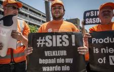 Hundreds of Solidarity members marched to the JSE and Sasol's head office in Sandton on 25 October 2018. Picture: Abigail Javier/EWN