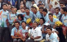 The Indian cricket team celebrates after beating Austrialia in a one-day series in March 2008. Picture: PIB
