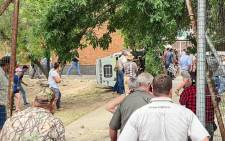 Violent demonstration by a group of farmers outside the Senekal Magistrates Court in the Free State on 6 October 2020. Picture: @crimeairnetwork/Twitter