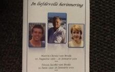 FILE: Slain van Breda family memorial service in Pretoria. Picture: Mia Lindeque/EWN.